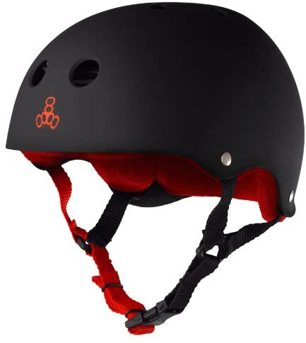 black helmet for hoverboard with red strip